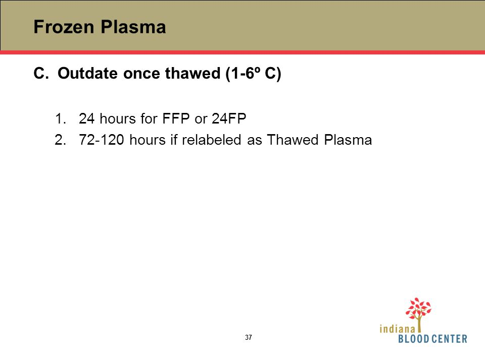 Frozen Plasma Outdate once thawed (1-6º C) 24 hours for FFP or 24FP