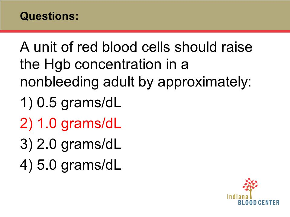 Questions: A unit of red blood cells should raise the Hgb concentration in a nonbleeding adult by approximately: