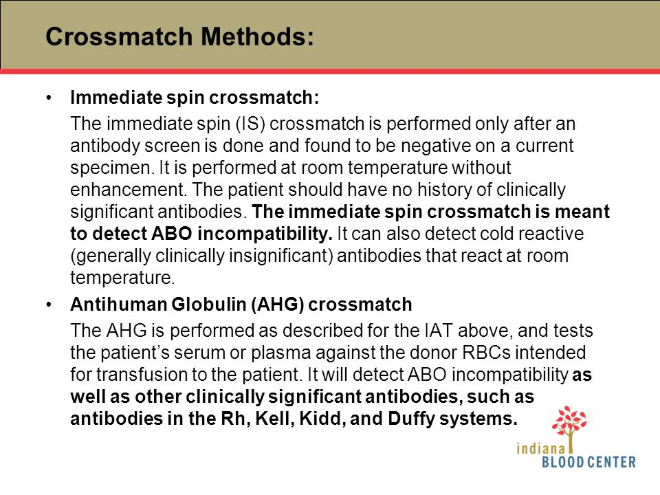 Crossmatch Methods: Immediate spin crossmatch: