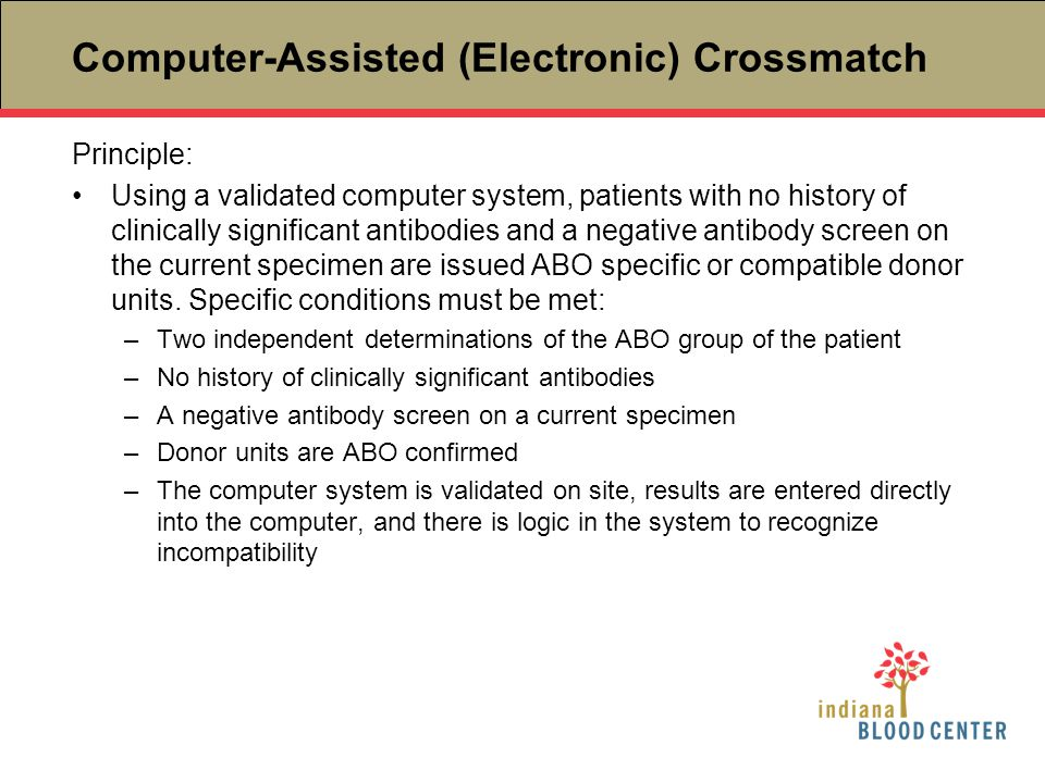 Computer-Assisted (Electronic) Crossmatch