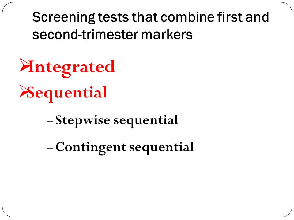 Screening tests that combine first and second-trimester markers