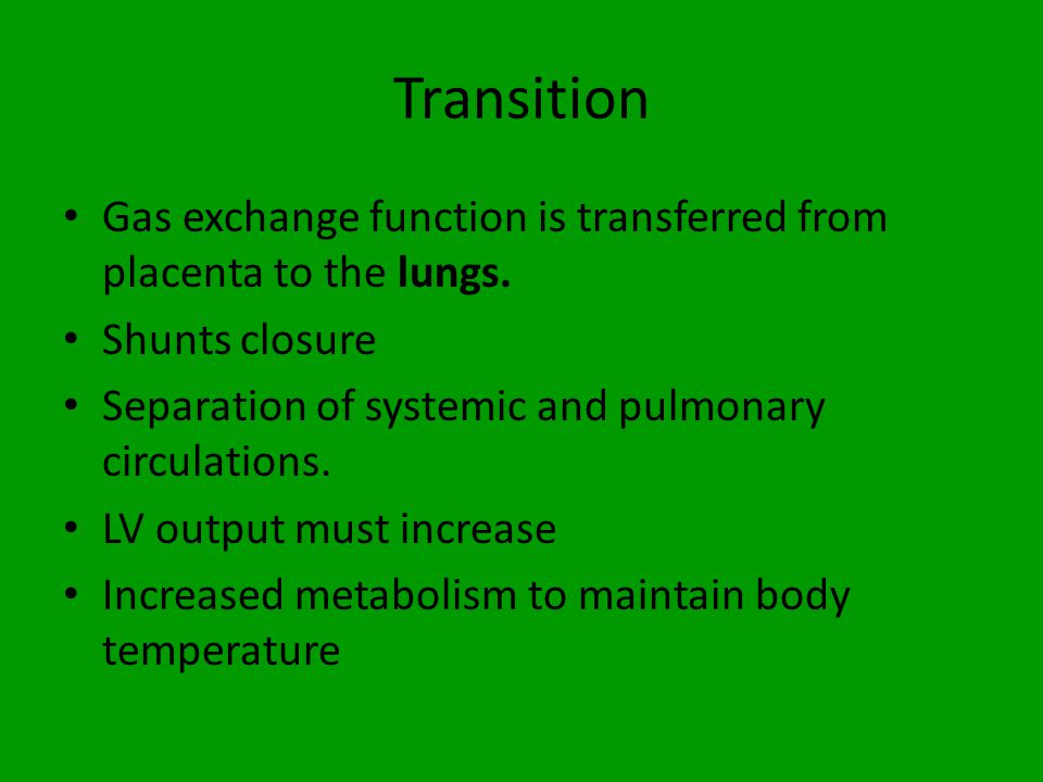 Transition Gas exchange function is transferred from placenta to the lungs. Shunts closure. Separation of systemic and pulmonary circulations.