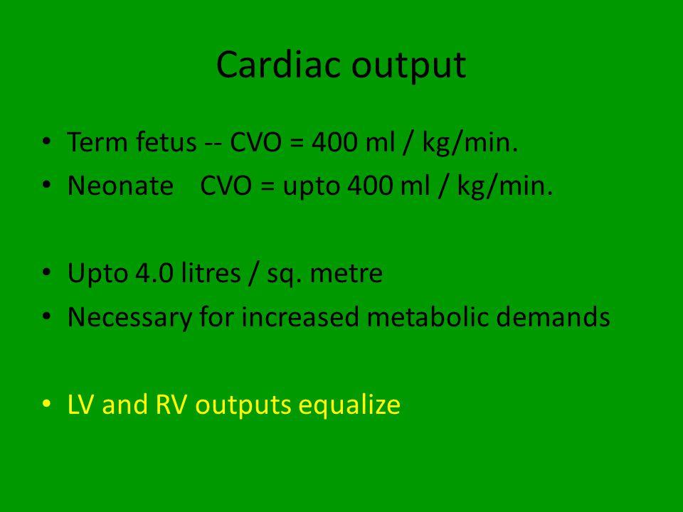 Cardiac output Term fetus -- CVO = 400 ml / kg/min.