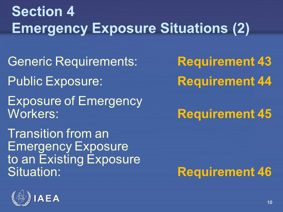 Section 4 Emergency Exposure Situations (2)