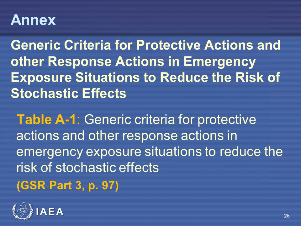 Annex Generic Criteria for Protective Actions and other Response Actions in Emergency Exposure Situations to Reduce the Risk of Stochastic Effects.
