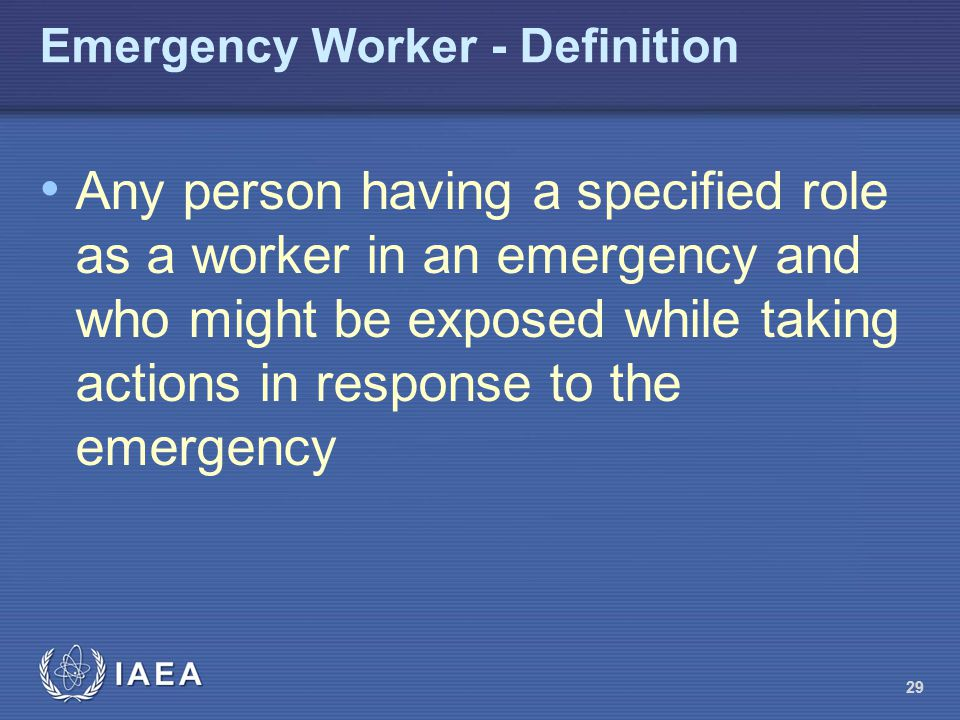 Emergency Worker - Definition