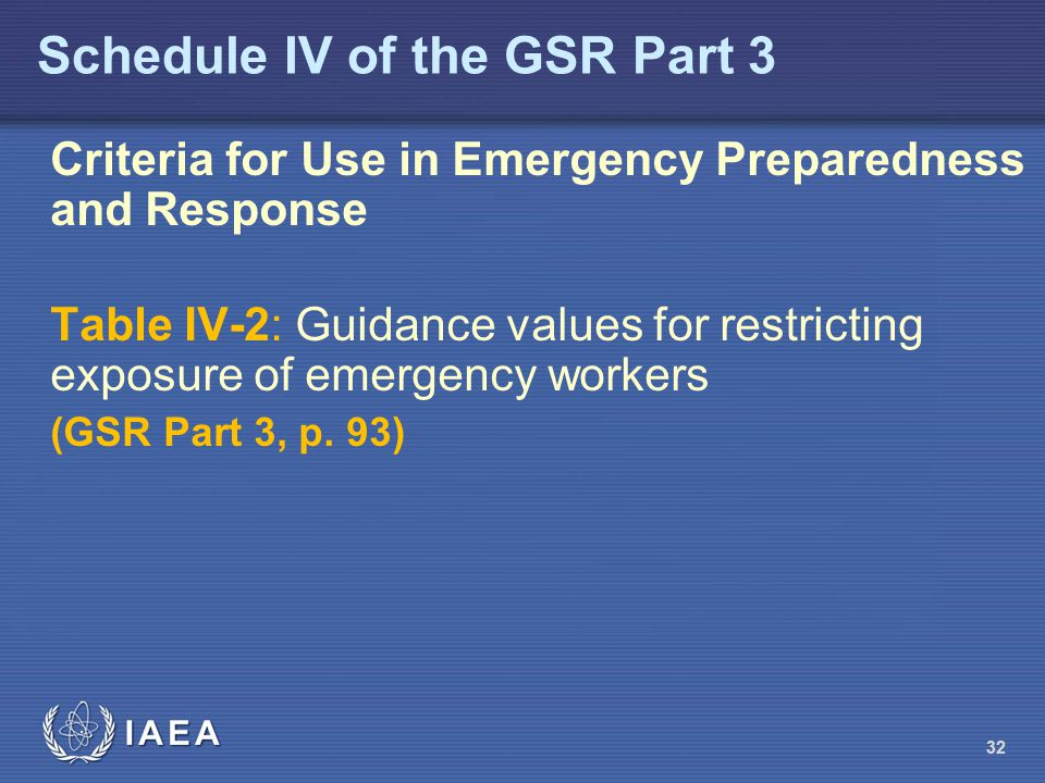Schedule IV of the GSR Part 3