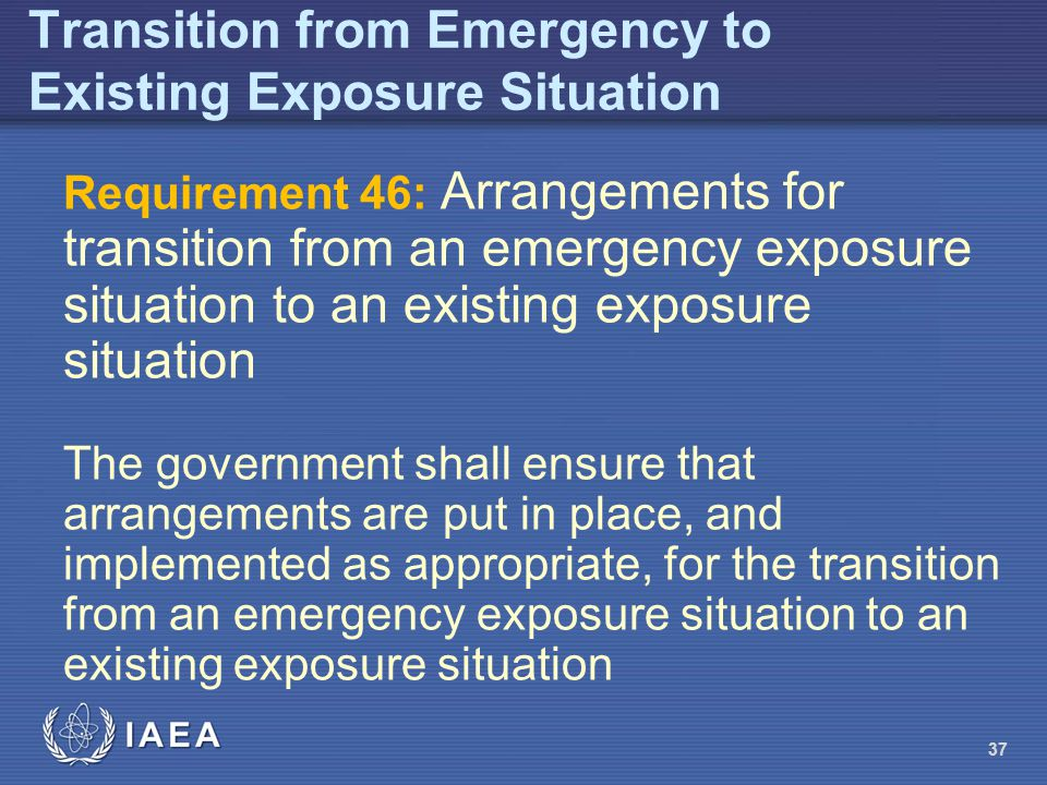 Transition from Emergency to Existing Exposure Situation