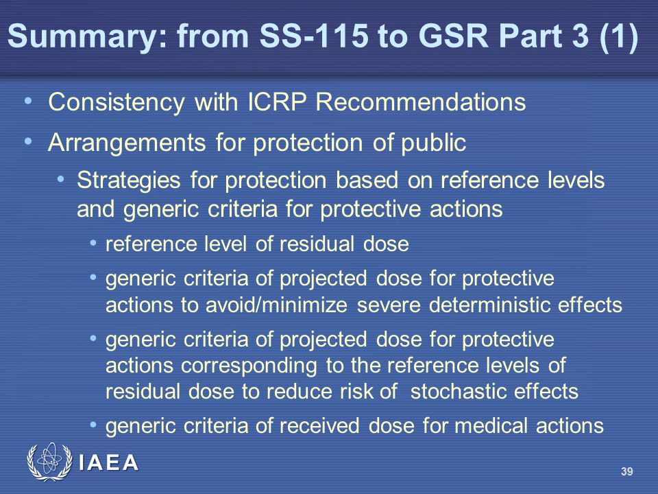 Summary: from SS-115 to GSR Part 3 (1)