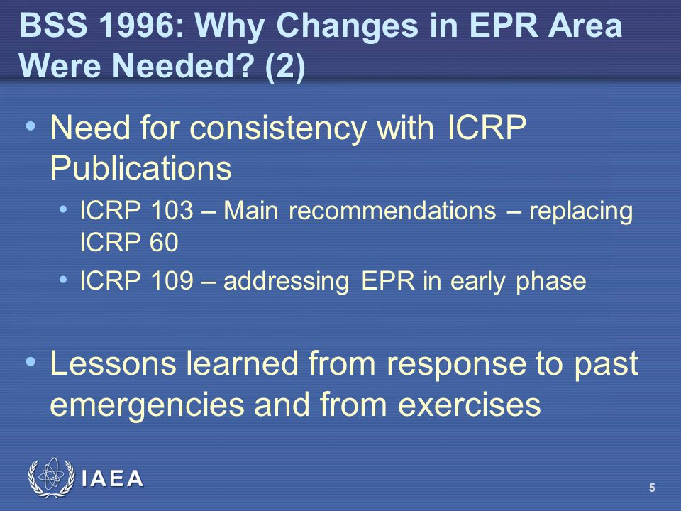 BSS 1996: Why Changes in EPR Area Were Needed (2)
