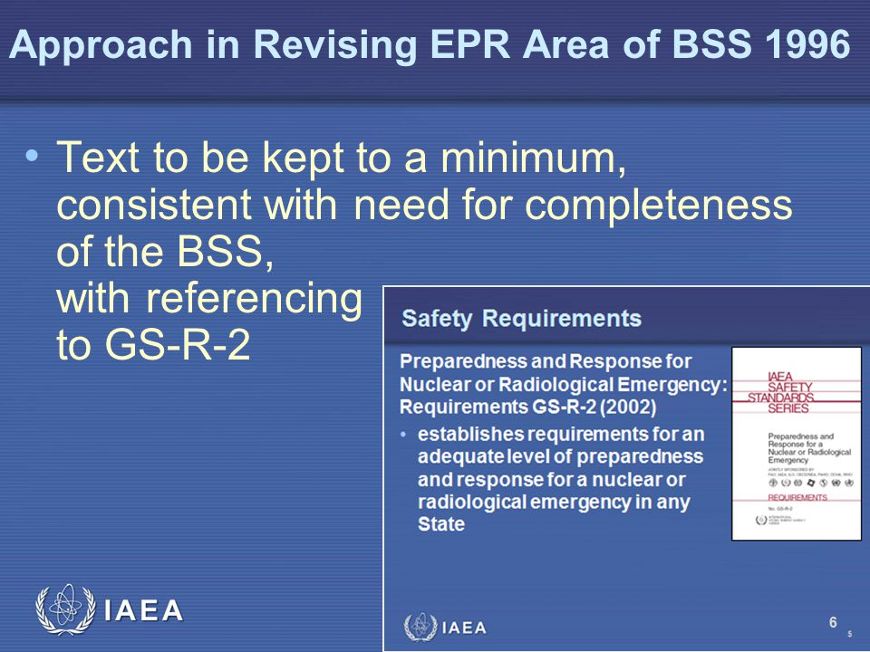 Approach in Revising EPR Area of BSS 1996