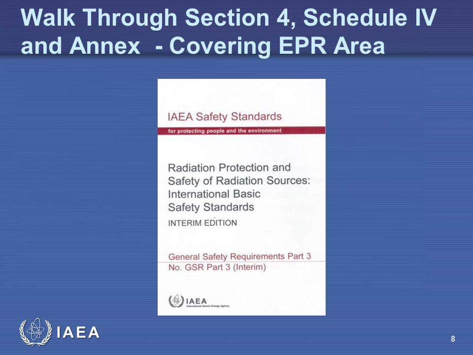 Walk Through Section 4, Schedule IV and Annex - Covering EPR Area