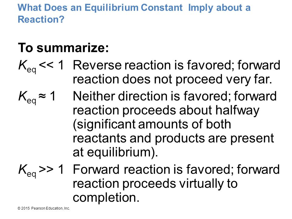 What Does an Equilibrium Constant Imply about a Reaction