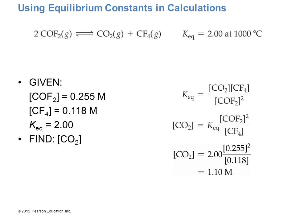 Using Equilibrium Constants in Calculations