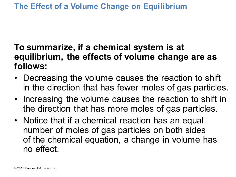 The Effect of a Volume Change on Equilibrium