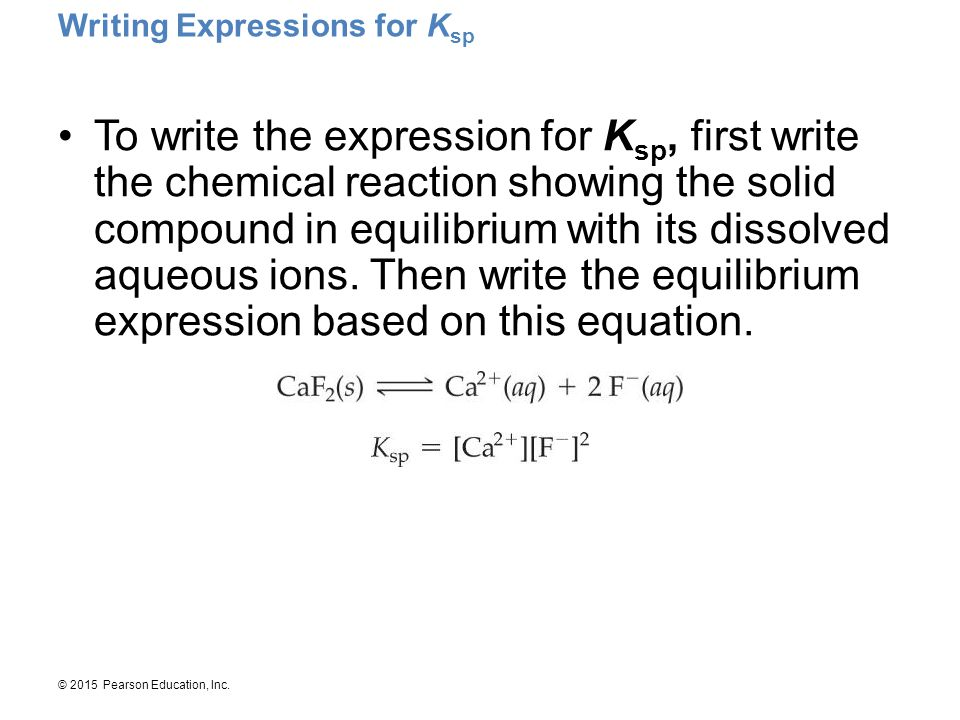 Writing Expressions for Ksp