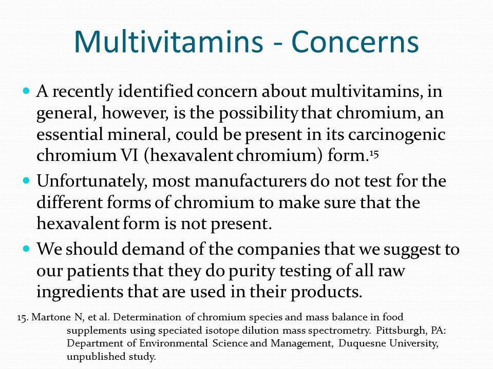 Multivitamins - Concerns