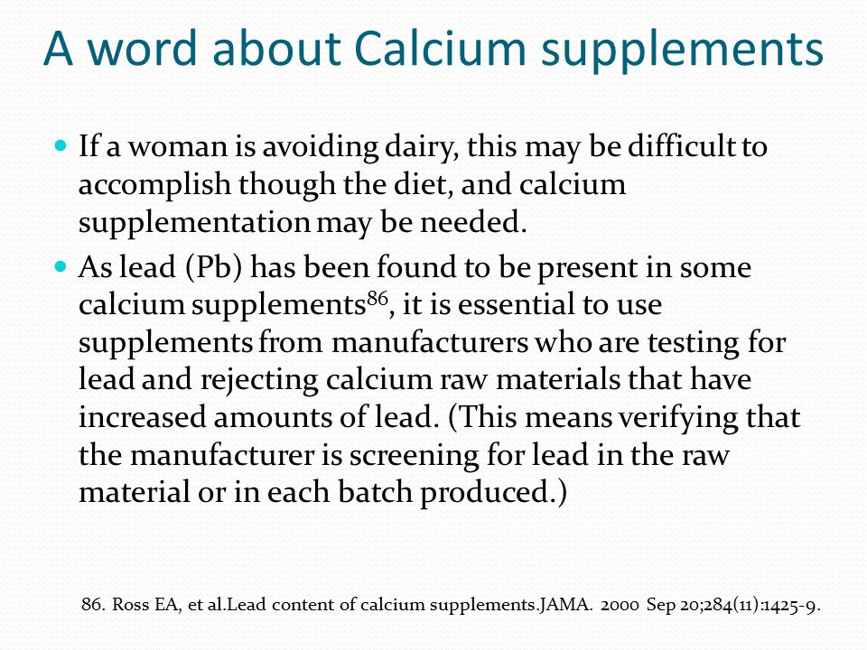 A word about Calcium supplements