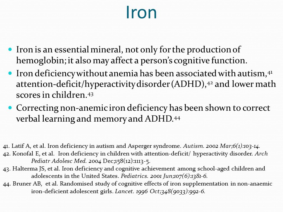 Iron Iron is an essential mineral, not only for the production of hemoglobin; it also may affect a person's cognitive function.