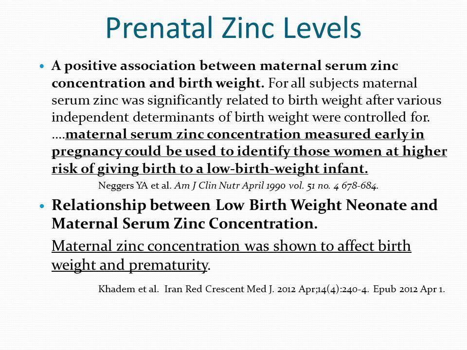 Prenatal Zinc Levels