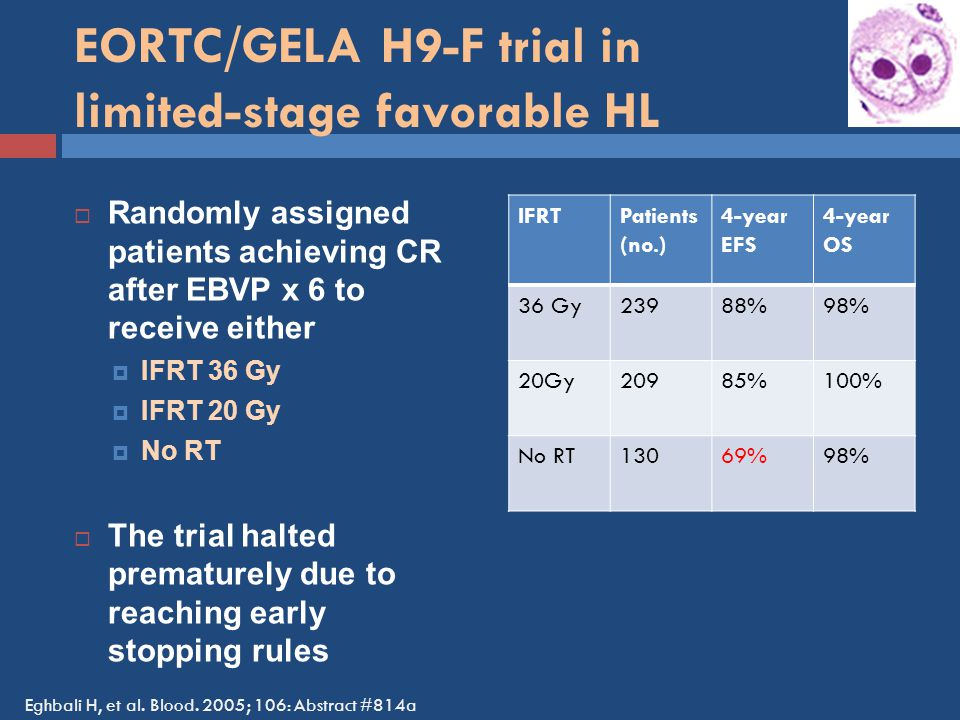 EORTC/GELA H9-F trial in limited-stage favorable HL