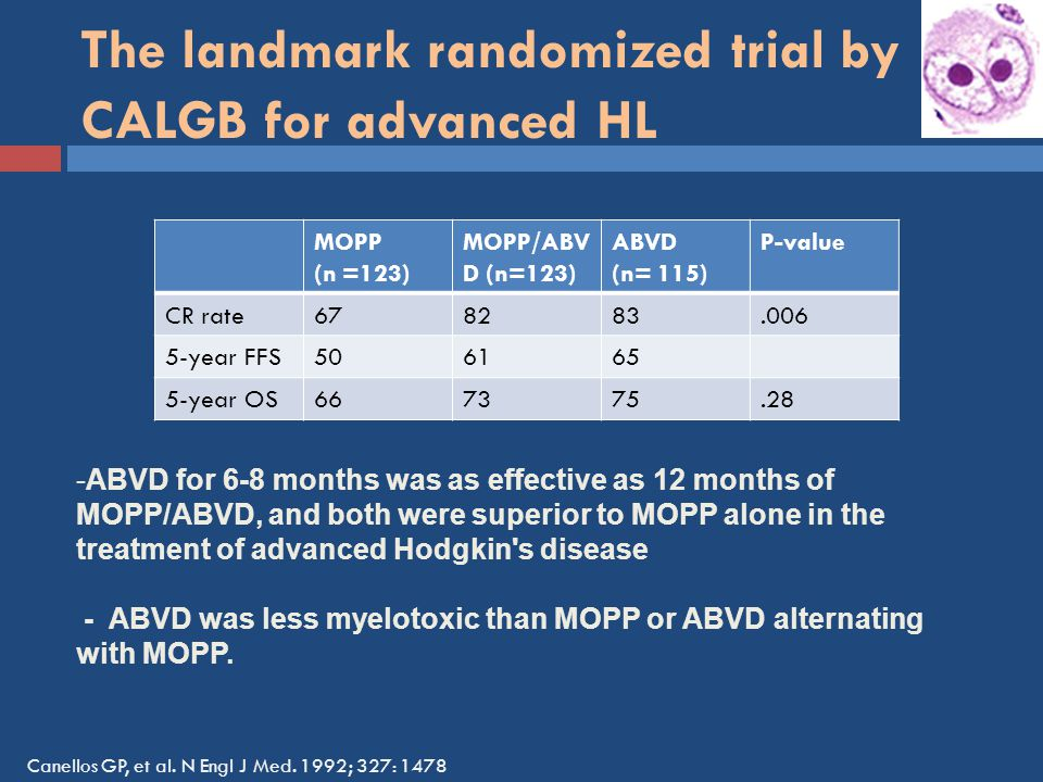 The landmark randomized trial by CALGB for advanced HL