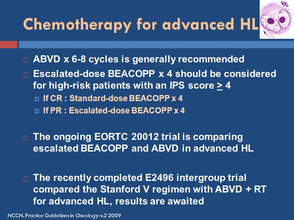 Chemotherapy for advanced HL