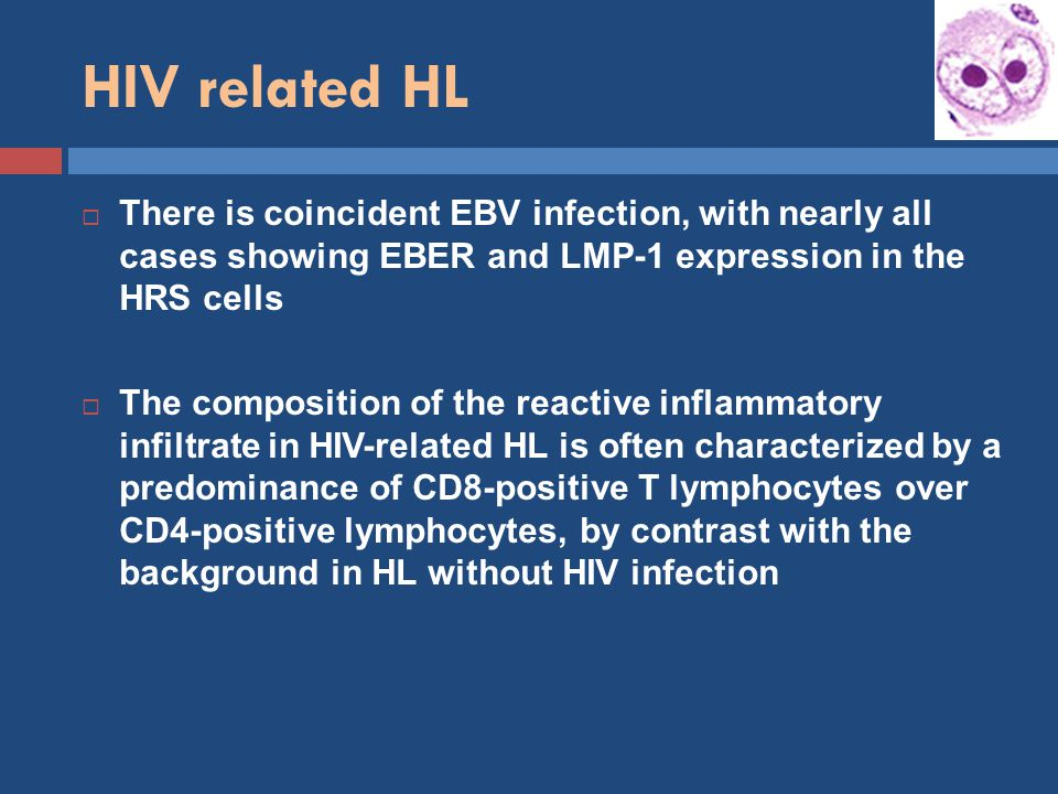 HIV related HL There is coincident EBV infection, with nearly all cases showing EBER and LMP-1 expression in the HRS cells.