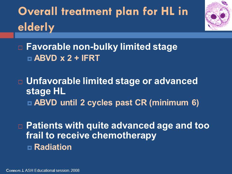 Overall treatment plan for HL in elderly