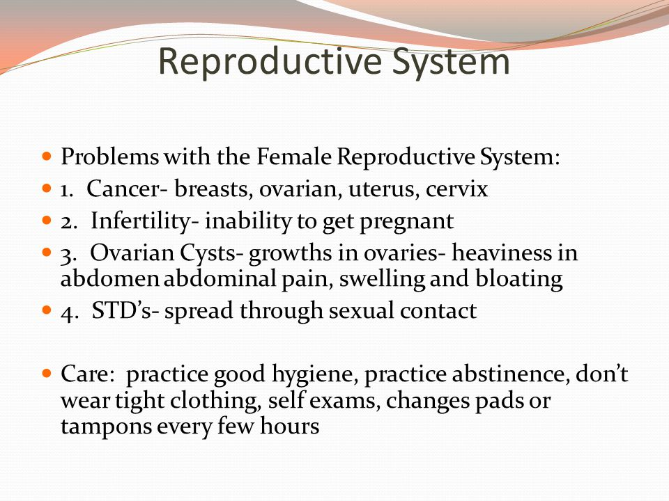 Reproductive System Problems with the Female Reproductive System: