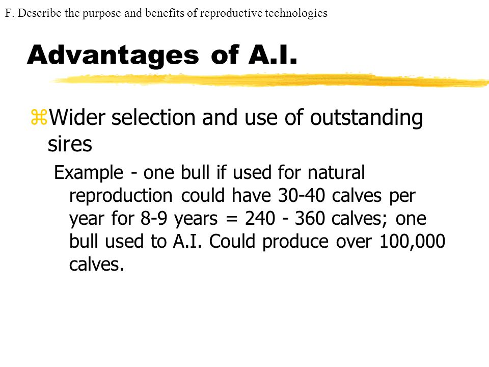 Advantages of A.I. Wider selection and use of outstanding sires