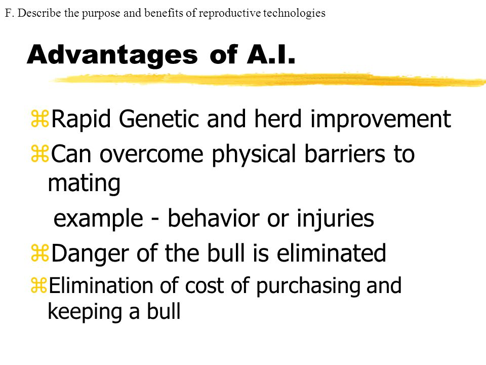 Advantages of A.I. Rapid Genetic and herd improvement