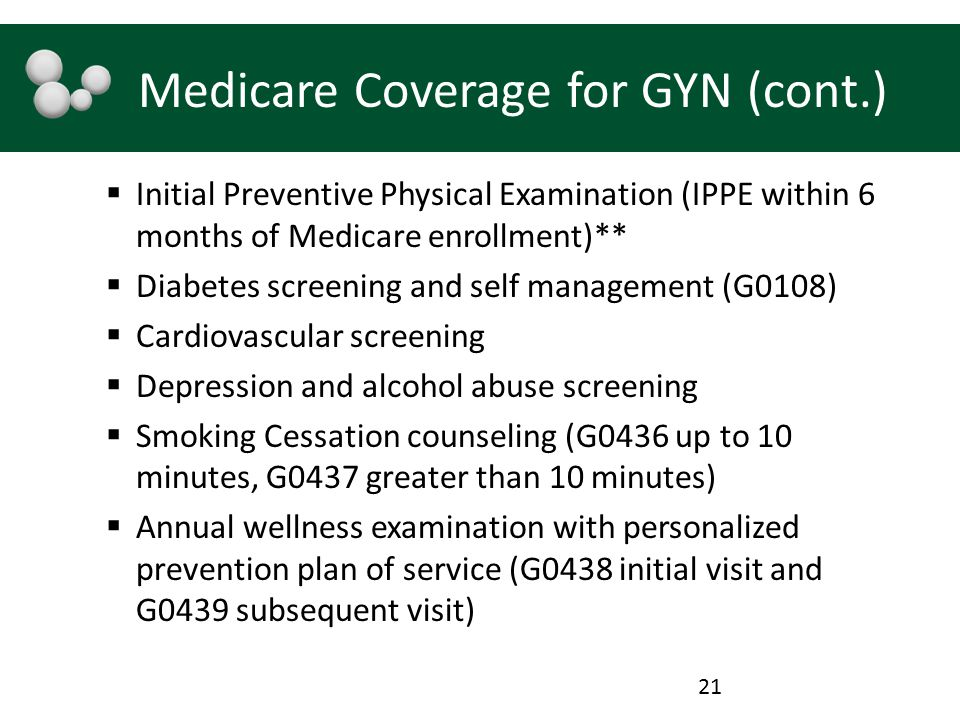 Medicare Coverage for GYN (cont.)