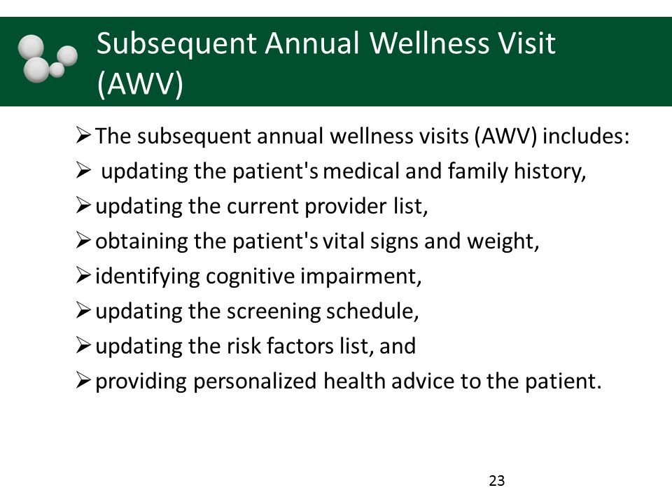 Subsequent Annual Wellness Visit (AWV)