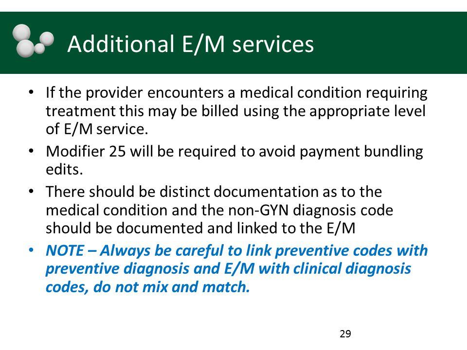 Additional E/M services
