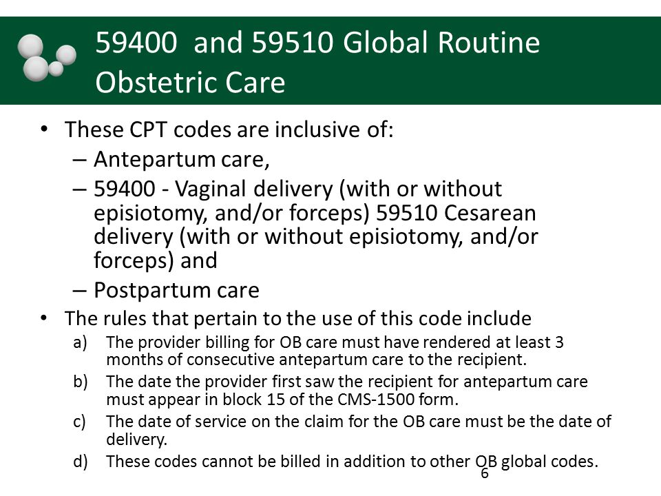 59400 and 59510 Global Routine Obstetric Care