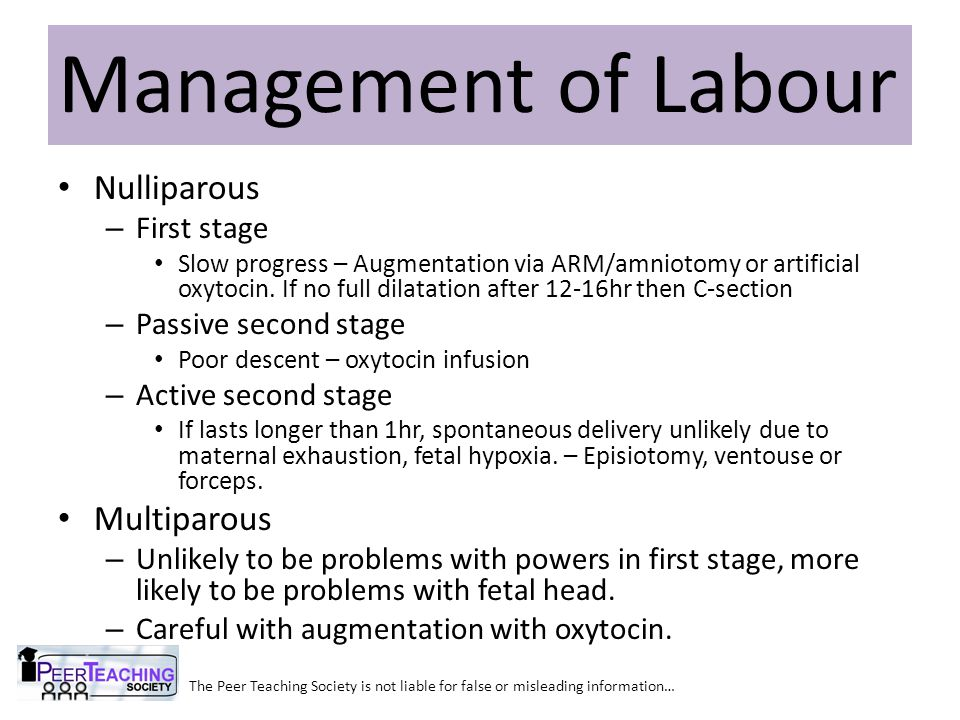 Management of Labour Nulliparous Multiparous First stage