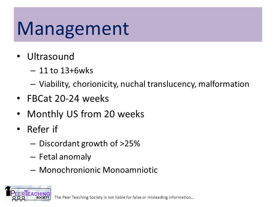 Management Ultrasound FBCat 20-24 weeks Monthly US from 20 weeks
