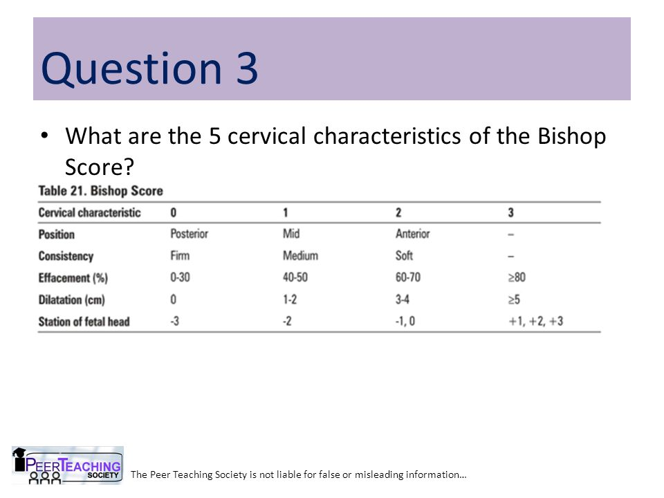 Question 3 What are the 5 cervical characteristics of the Bishop Score Effacement. Position. Consistency.