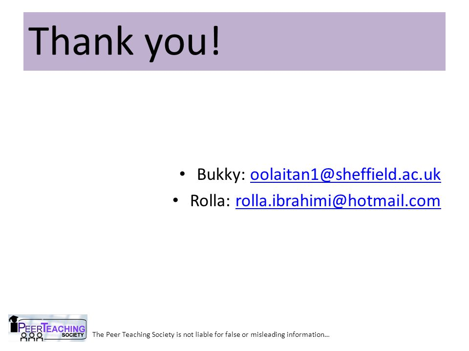 Thank you! Bukky: oolaitan1@sheffield.ac.uk