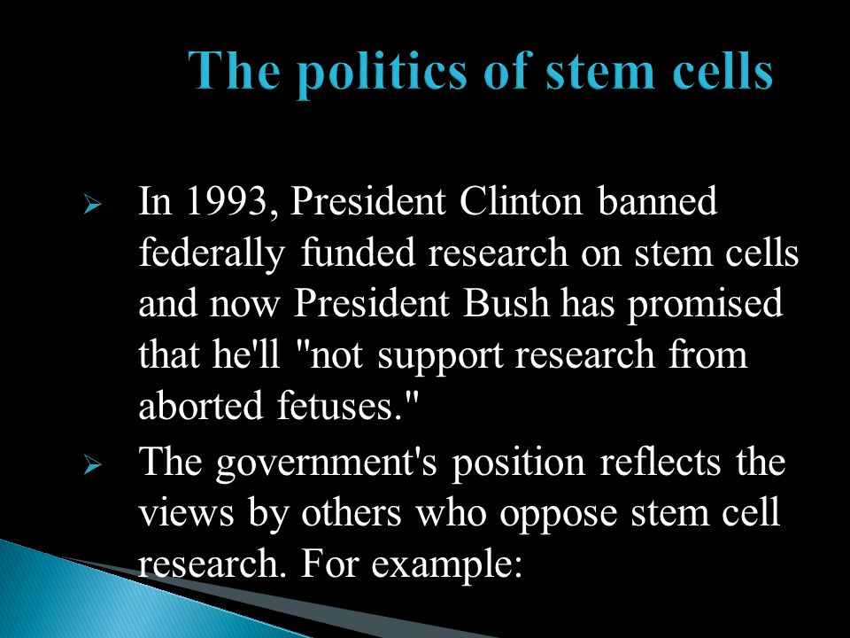 The politics of stem cells