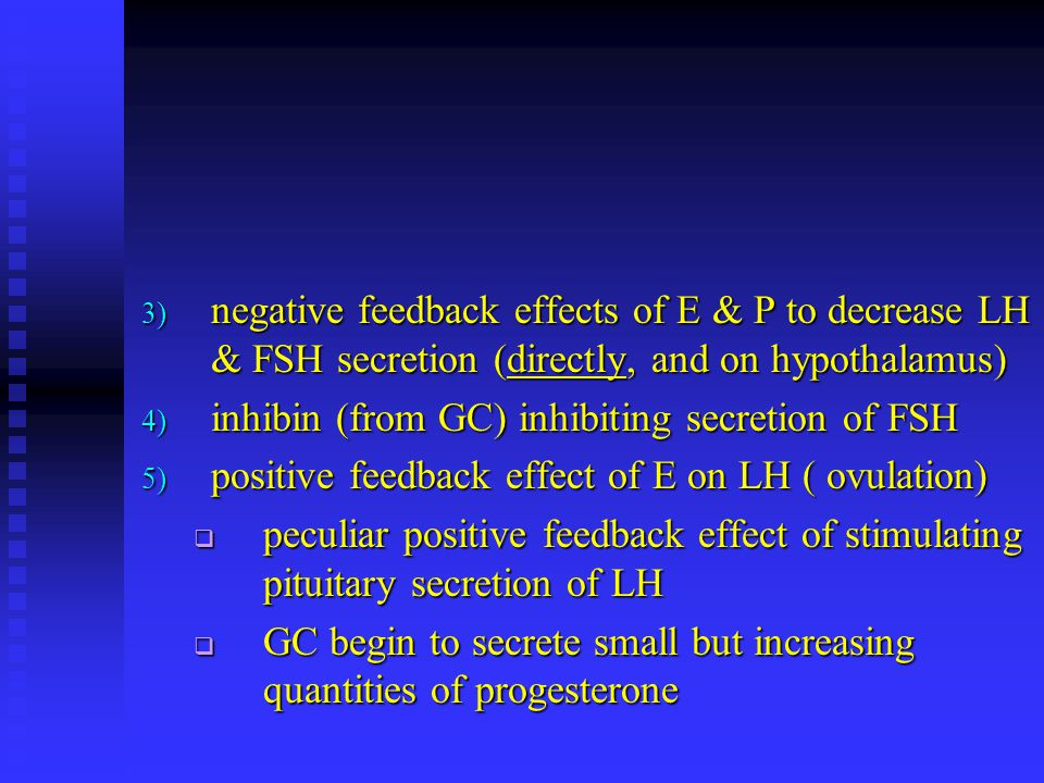 negative feedback effects of E & P to decrease LH & FSH secretion (directly, and on hypothalamus)