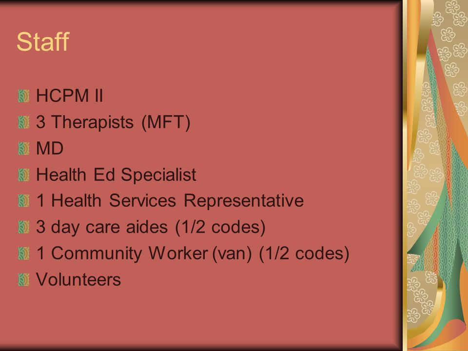 Staff HCPM II 3 Therapists (MFT) MD Health Ed Specialist