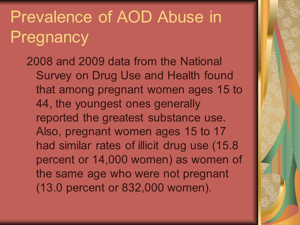 Prevalence of AOD Abuse in Pregnancy