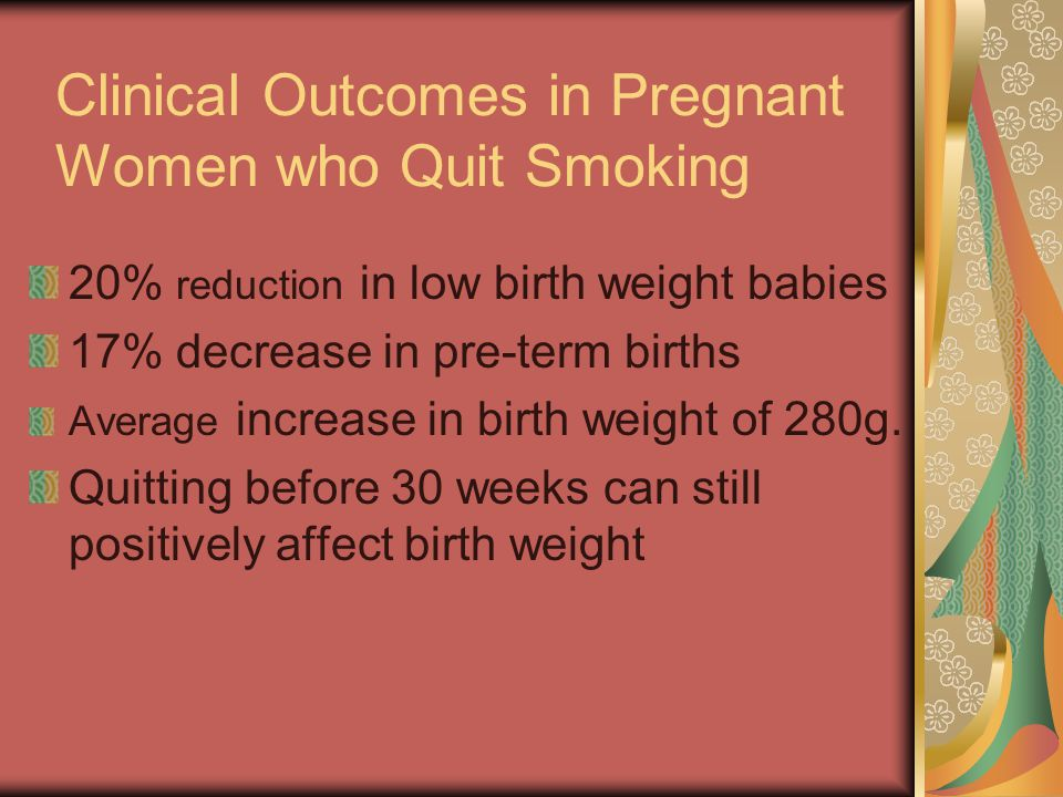 Clinical Outcomes in Pregnant Women who Quit Smoking