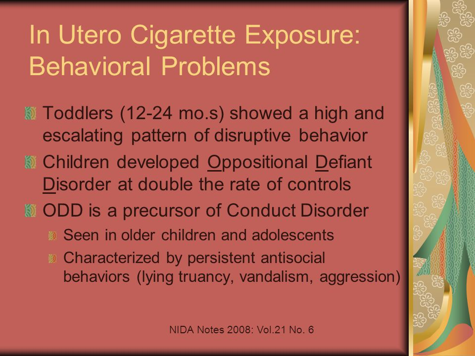 In Utero Cigarette Exposure: Behavioral Problems