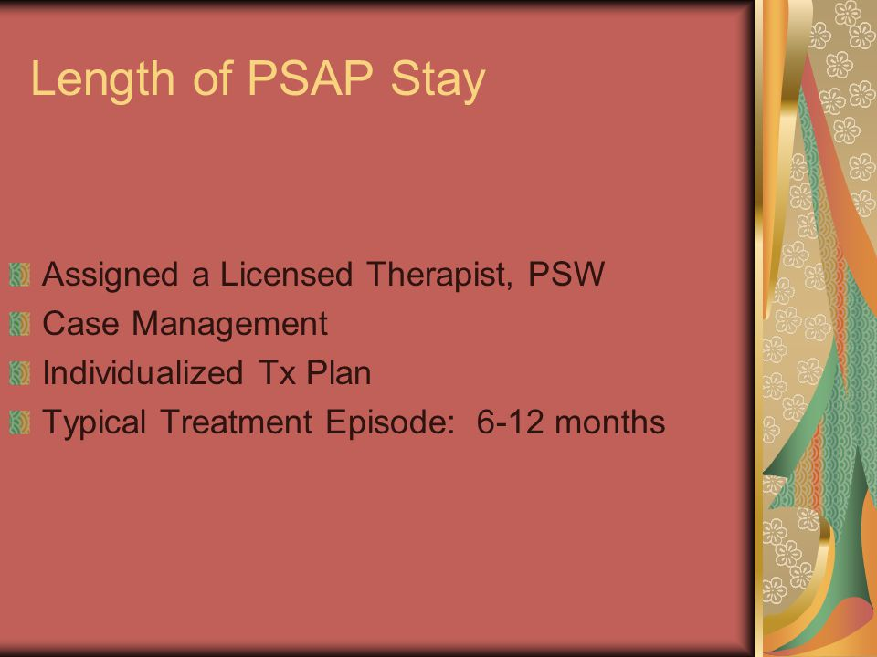 Length of PSAP Stay Assigned a Licensed Therapist, PSW Case Management