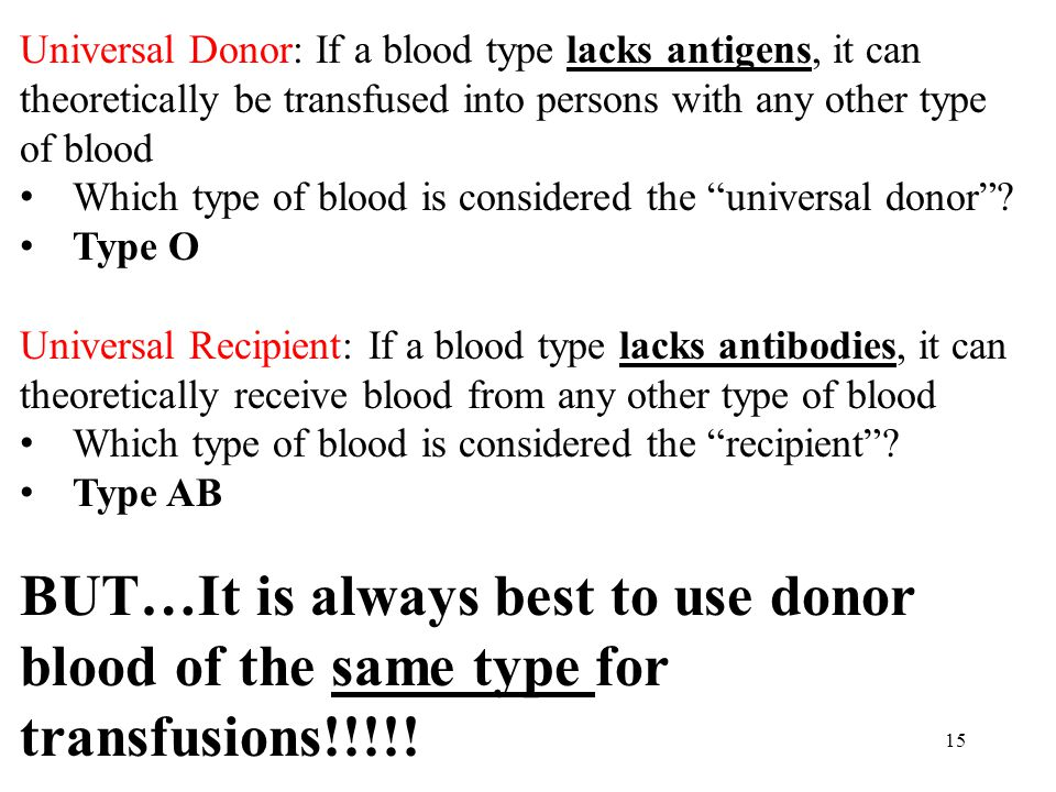 Universal Donor: If a blood type lacks antigens, it can theoretically be transfused into persons with any other type of blood