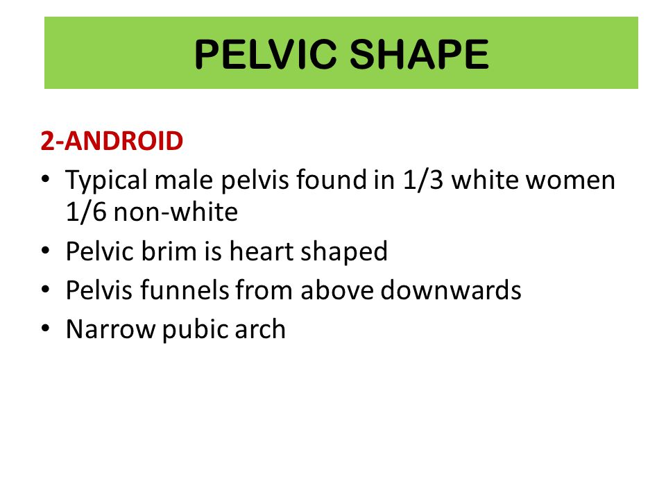 PELVIC SHAPE 2-ANDROID. Typical male pelvis found in 1/3 white women 1/6 non-white. Pelvic brim is heart shaped.