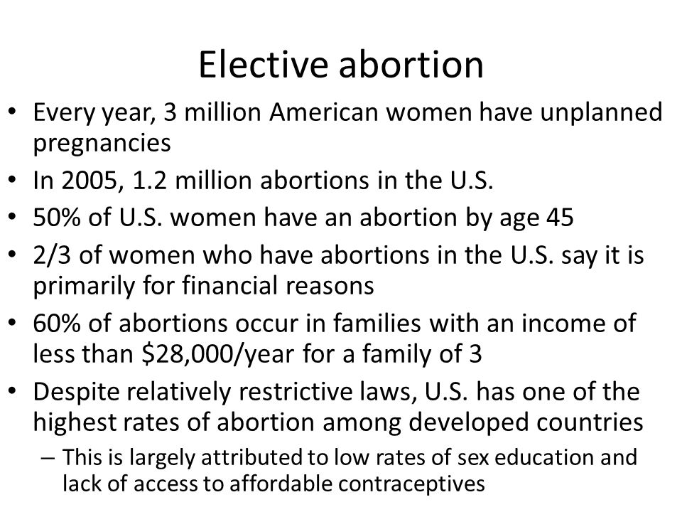 Elective abortion Every year, 3 million American women have unplanned pregnancies. In 2005, 1.2 million abortions in the U.S.